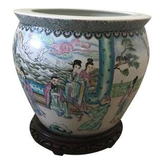 1970s Vintage Porcelain Asian Pot With Pedestal For Sale