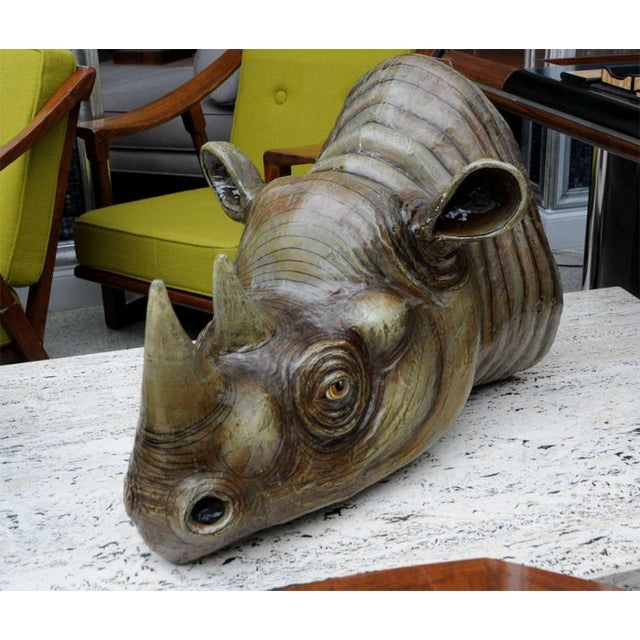 Mid-Century Modern Sergio Bustamante Wall Hung Rhino Head For Sale - Image 3 of 8