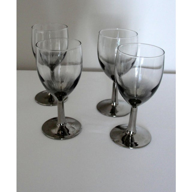 Vintage Set of 4 Petite Crystal Glasses with Silver-Gray Stems Marked France. So pretty, this set of four petite wine...