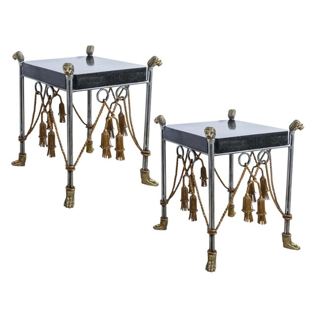 Maitland Smith Hollywood Regency Iron & Brass Tassel Table With Brass Lion Heads- a Pair For Sale - Image 11 of 11