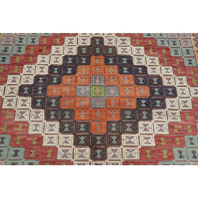 Mid 20th Century Vintage Turkish Kilim Rug-6′ × 12′8″ For Sale - Image 5 of 13