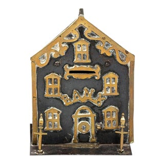 Antique Brass House Coin Bank For Sale