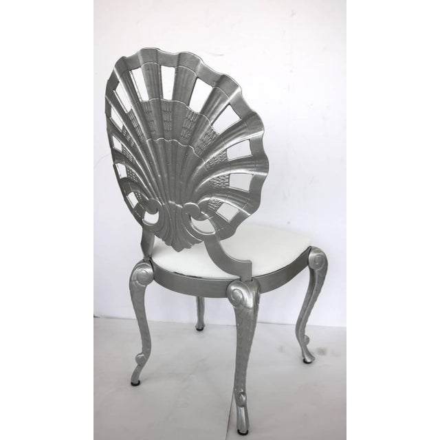 Metal 1950s Hollywood Regency Style Grotto Side Chairs in Silver - Set of 4 For Sale - Image 7 of 8