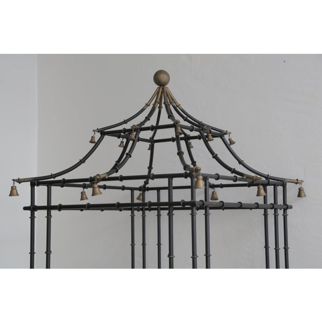 Art Deco Superb Tall Faux Bamboo Metal Pagoda Etagere For Sale - Image 3 of 8