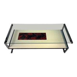 Amazing Italian Modernist Tile, Laminate and Rosewood Chrome Frame Coffee Table For Sale