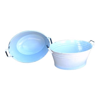 English White Metal Tubs With Handles - a Pair For Sale