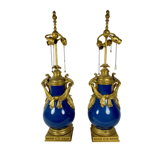 "A fabulous pair of Louis XV Style powder blue urns as lamps with draped bronze dore mounts. Circa 1870 France 8.5""..."