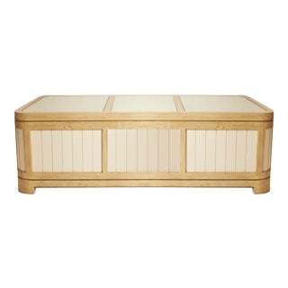 Thomasville White Planked Wood Trunk Coffee Table For Sale