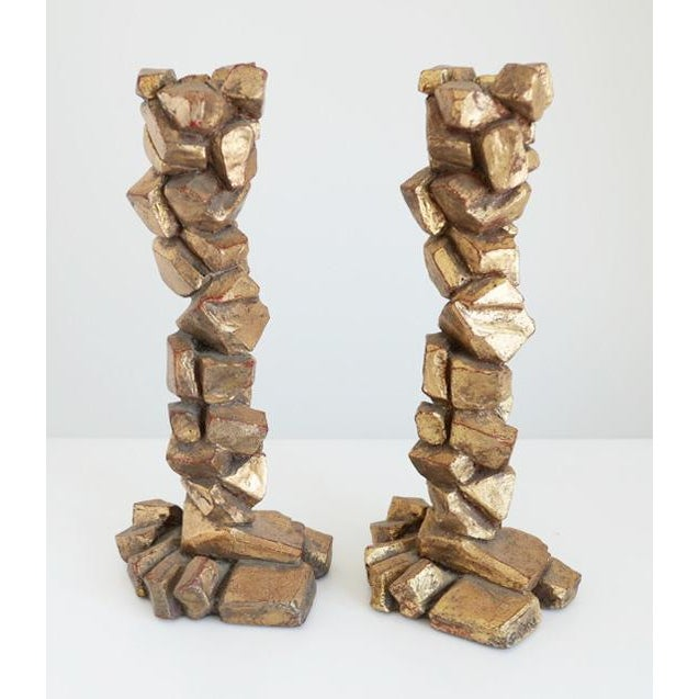 Sculptural Candlesticks Attributed to Marco De Gueltz - a Pair For Sale In Palm Springs - Image 6 of 6