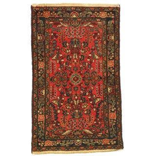"1920s Vintage Persian Sarouk Lilian Rug - 2′6"" × 4′2″ For Sale"