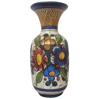 Large Mid Century Italian Hand Decorated Vase For Sale