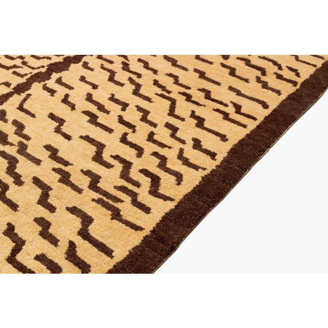 Brown and Tan Wool Tiger Area Rug-3′ × 6′ For Sale - Image 4 of 7