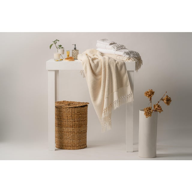 Textile Plush & Bare Handmade Organic Cotton Bath Towel in White For Sale - Image 7 of 9
