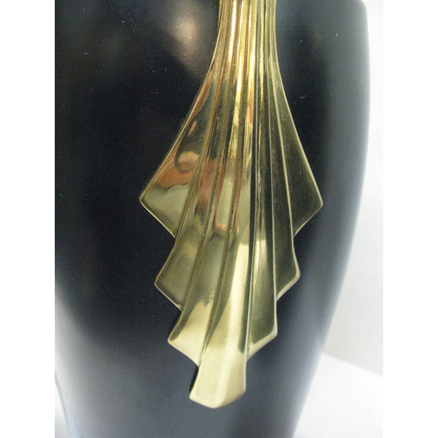 Black & Brass Art Deco Metal Vases - A Pair - Image 10 of 11