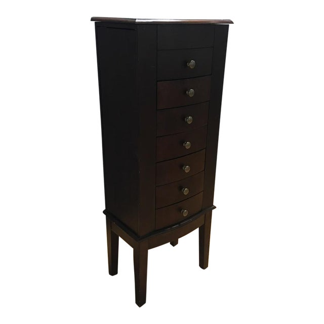 Dark Wood 6 Drawer Jewelry Chest With Flip Top Mirror - Image 1 of 10