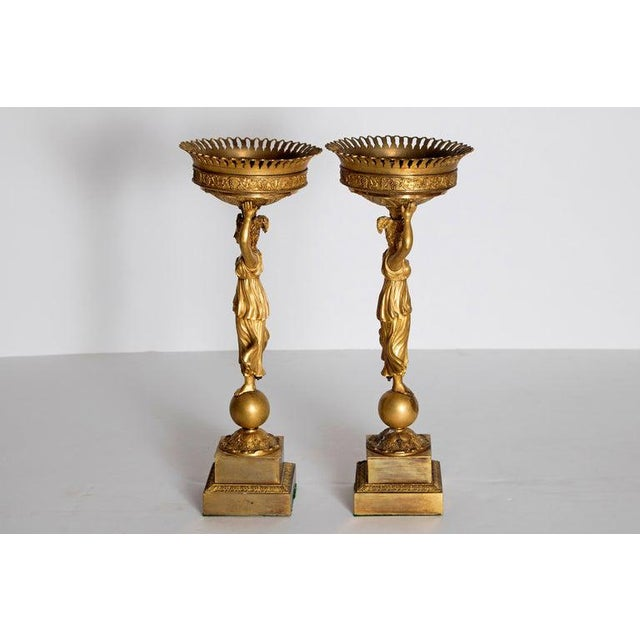 Bronze Early 19th Century Pair of French Empire Gilt Bronze Centerpiece Tazzzas For Sale - Image 7 of 13