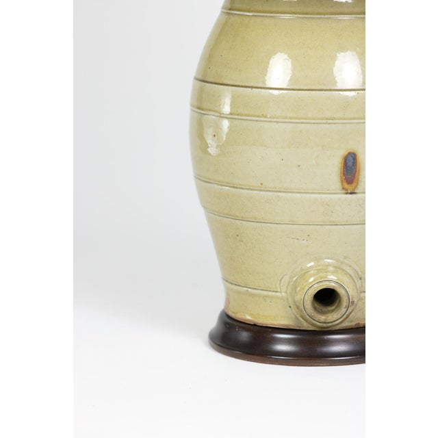 Pale Green Glazed Spirit Barrel, English Circa 1880 Mounted and Wired as a Table Lamp With Linen Shade For Sale - Image 11 of 13