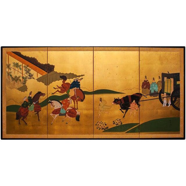 """Shōwa Era """"The Tale of Genji"""" Gold-Leaf Japanese Byobu Screen For Sale"""