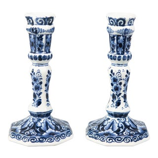 Vintage Dutch Delft Candlesticks - a Pair For Sale