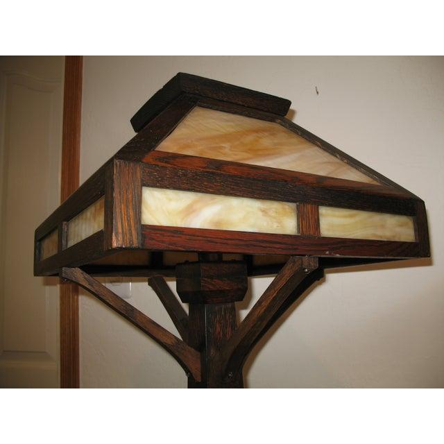Vintage Antique Arts & Crafts Mission Oak Lamp - Image 4 of 7