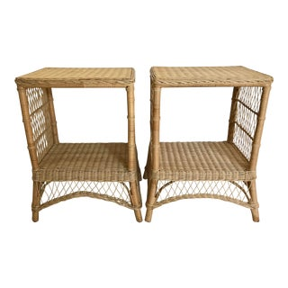 Vintage 1970's Mid-Century Modern Wicker/Bamboo Side Tables with Shelf - a Pair For Sale