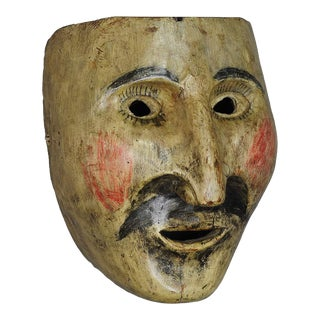 A Wooden Carved Folksy Carnival Fasnet Mask, South Tyrol Ca. 1900 For Sale