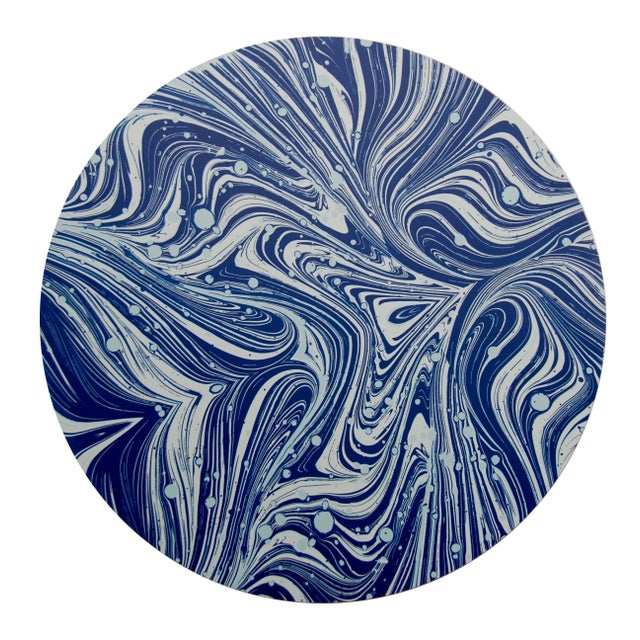 Contemporary Marble Placemat in Navy For Sale - Image 3 of 3