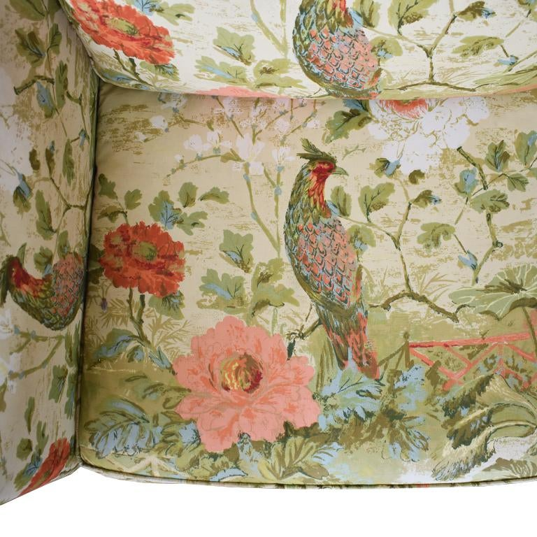 Exceptionnel Asian 1970s Chinoiserie Ethan Allen Floral Down Filled Peacock Sofa For  Sale   Image 3 Of