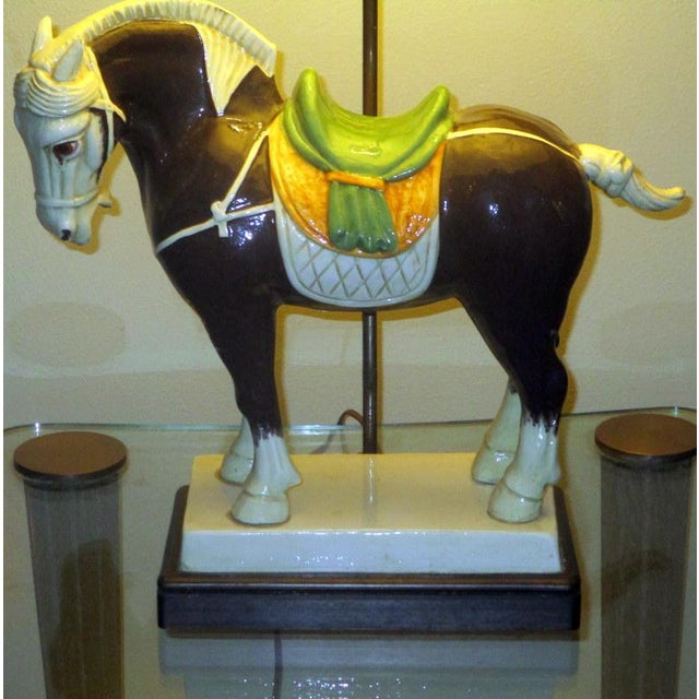 Vintage Chinese Tang Style Ceramic Horse Table Lamp For Sale - Image 9 of 10