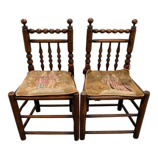 Pair of 19th Century American Walnut Side Chairs W/ Petit Point Cushions For Sale
