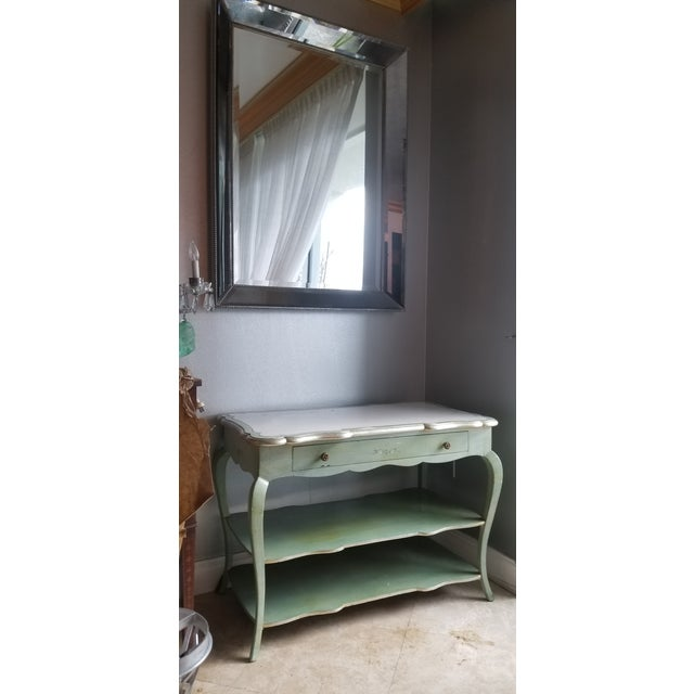 Art Deco 1930s Italian Florentine Painted With White Marble Top Console or Dressing Table For Sale - Image 3 of 13