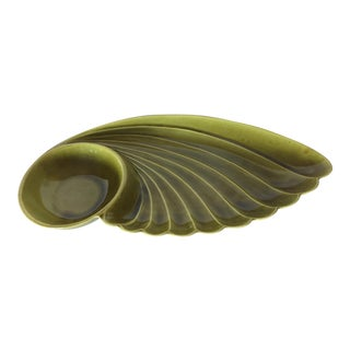 Vintage Mid-20th Century Green California Ceramics Chip & Dip Bowl For Sale