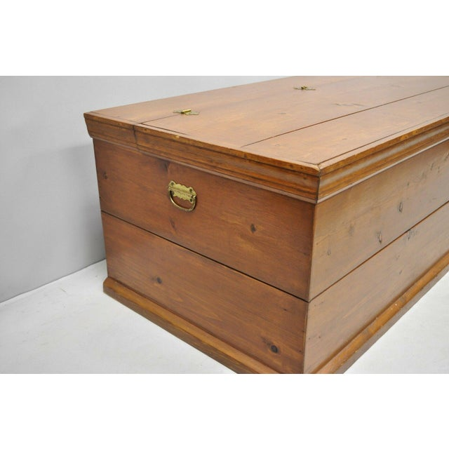 Late 20th Century Large Vintage Knotty Pine Wood Blanket Chest Trunk Storage For Sale - Image 5 of 12