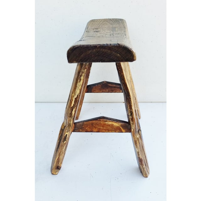 Vintage Chinese Elm Stool Milking Bench For Sale - Image 4 of 5