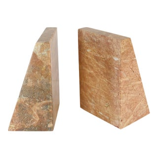 1970s Vintage Modern Pink Marble Bookends - a Pair For Sale