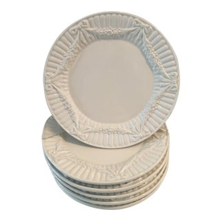 Tiffany White Embossed Swag / Garland Plates - Set of 6 For Sale