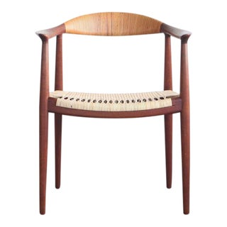 1950s Mid-Century Modern Hans Wegner Teak and Wicker Round Chair For Sale