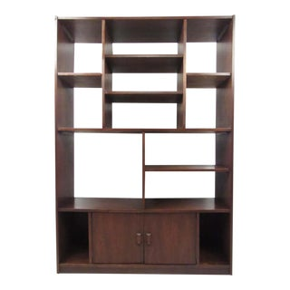 Impressive Midcentury Walnut Bookcase or Room Divider For Sale