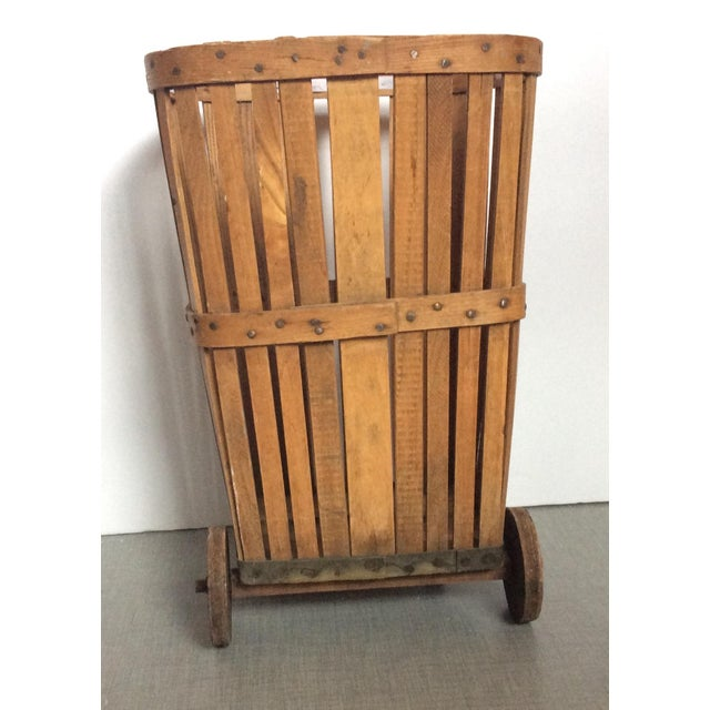 Antique 1920s Wood Baskets on Wheels - Image 8 of 9