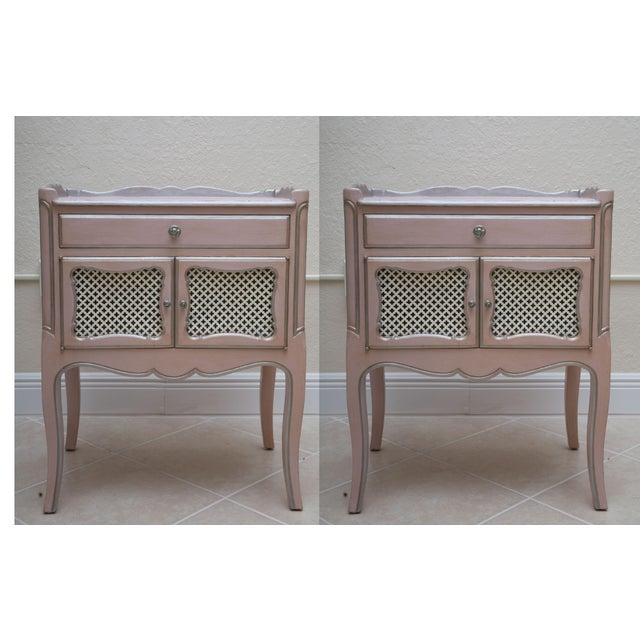 Pair of Pink Painted and Parcel Silver Commodes, 20th Century - Image 10 of 10