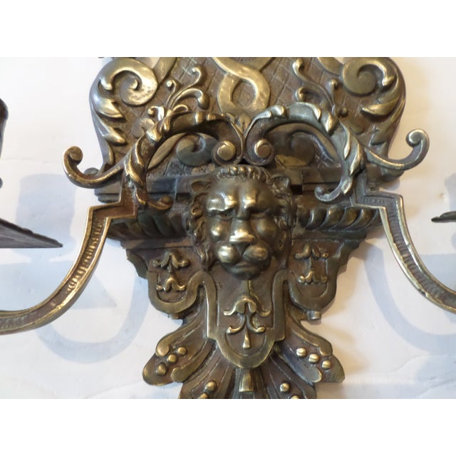 A beautiful pair of heavy cast bronze Italian Candle Sconces, late 19th century, with a nice mellow patina and great...