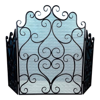Black Metal Ornate Scroll Trifold Fireplace Screen