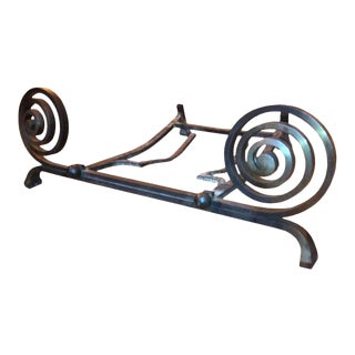 Richard Desvallieres Beautiful Wrought Andiron For Sale