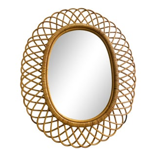 Mid-Century Italian Bamboo and Rattan Oval Mirror in the Style of Franco Albin For Sale