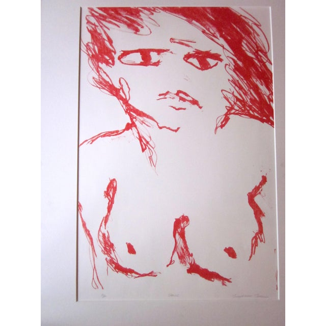 """1970s Vintage Suzanne Peters """"Face"""" Limited Edition Signed Nude Woman Figural Lithograph For Sale - Image 9 of 11"""