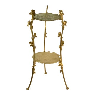 Mid 20th Century Victorian Style Gold Plant Stand Side Table For Sale