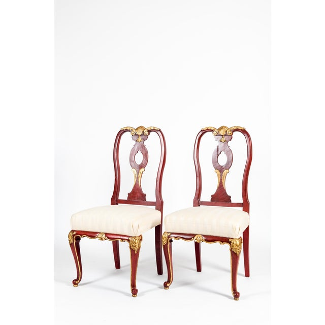 Vintage Wood Framed With Gilt Detail Side Chairs - a Pair For Sale - Image 4 of 13