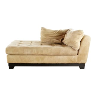 Theodore's Modern Furniture Beige Upholstered Suede Chaise Lounge For Sale