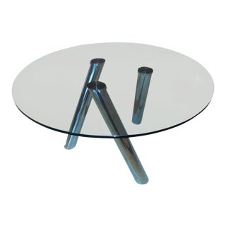 1990s Vintage Pace Style Tubular Chromed Steel Column Table For Sale