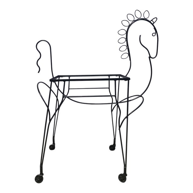 Mid-Century Modern Horse-Form Bar Cart by Meadowcraft For Sale
